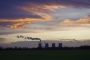 Eggborough power station at sunset viewed from Burn Airfield.
