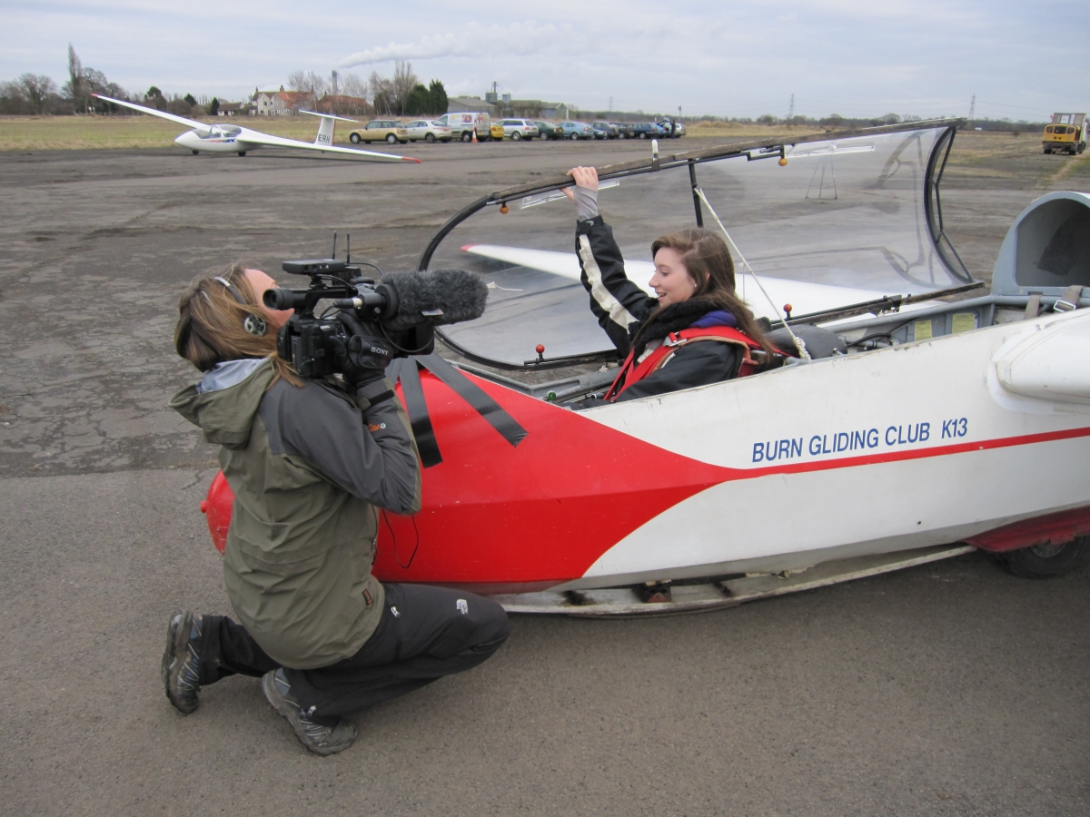 Charlotte telling BBC Look North video journalist Nicola Rees about her first solo flight and her launch to 19,000 ft.  Don't worry she meant 1,900 ft!!