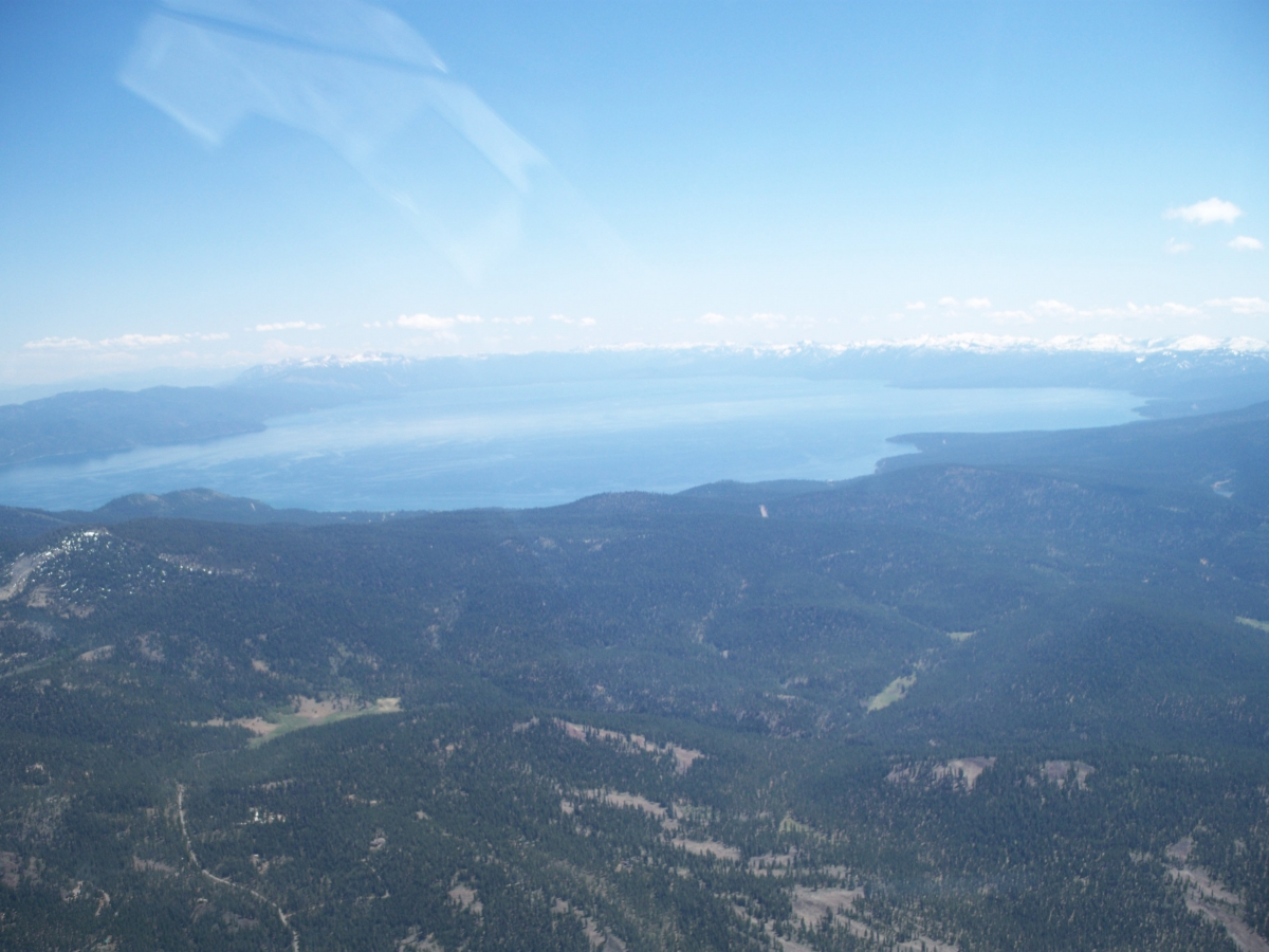 Looking southwards across Lake Tahoe. The Sierra Nevada Mountain range is in the distance. Minden Airfield is the other side of the Sierra Nevada Mountains.